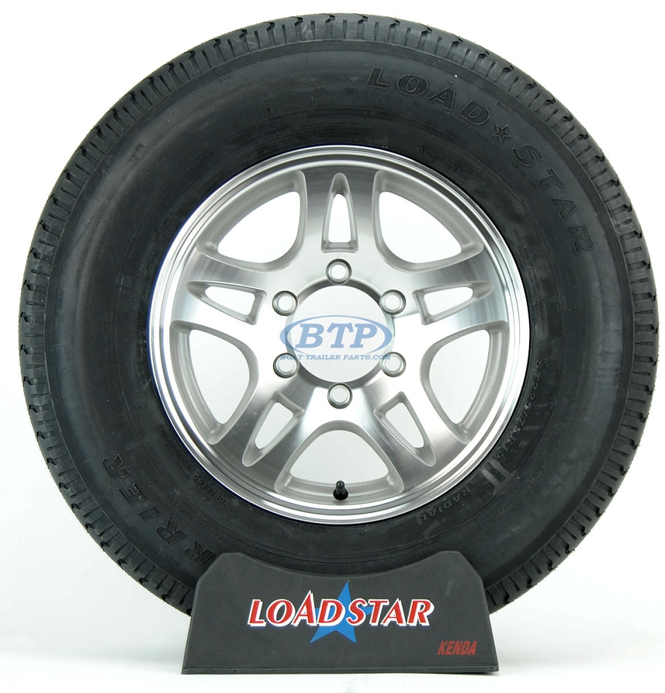 boat trailer tire st225 75r15 radial on aluminum wheel 6 lug by loadstar. Black Bedroom Furniture Sets. Home Design Ideas